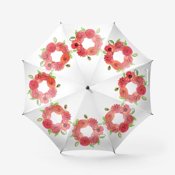 Зонт «Венок из красных маков»