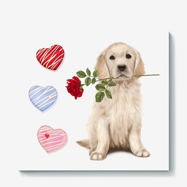 Холст «Golden Retriever with Rose and Love»