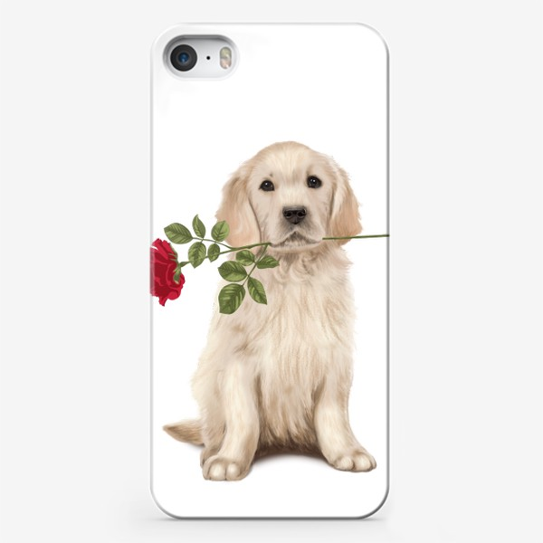Чехол iPhone «Golden Retriever with Rose and Love»