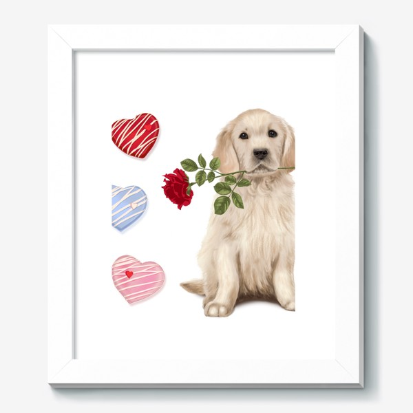 Картина «Golden Retriever with Rose and Love»