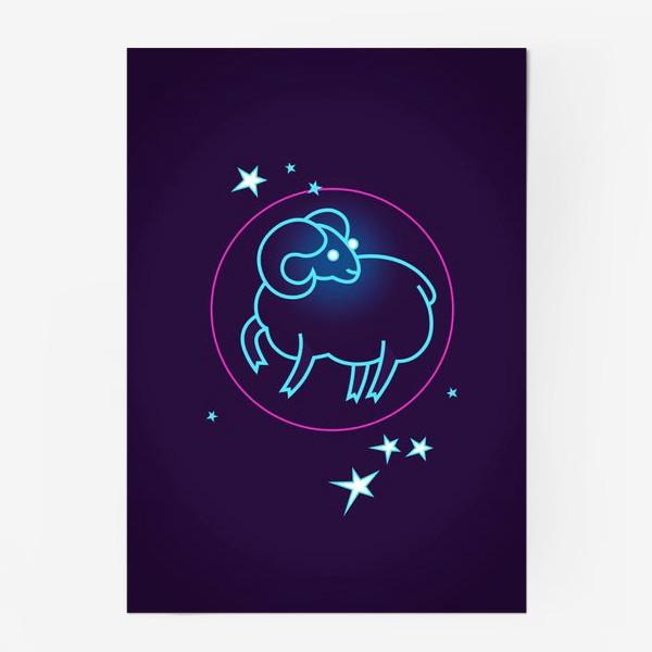 Постер «Знак Зодиака Овен. Светящийся голубой контур барашка в круге со звездами.»