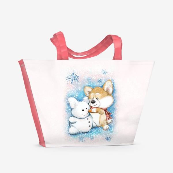 Пляжная сумка «Корги и снеговик»