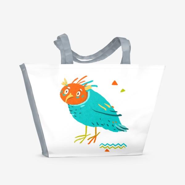 Пляжная сумка «Цветная сова. Совка.»