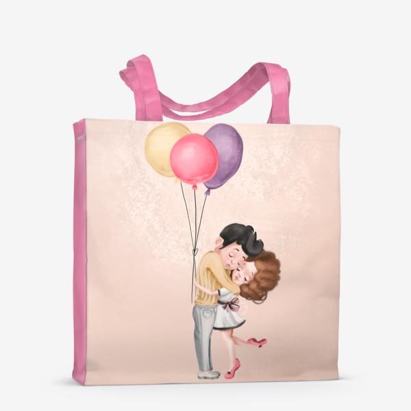 Сумка-шоппер «Любовь, шарики, влюбленные»