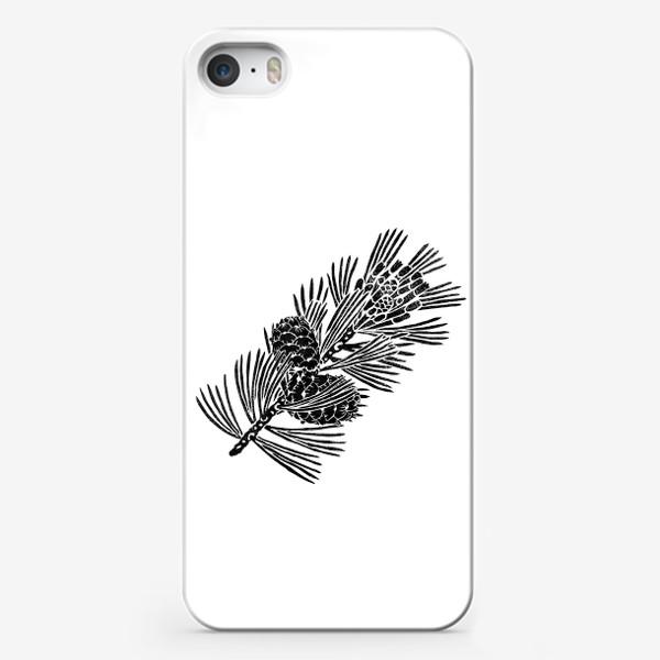 Чехол iPhone «Кедр-3 (сибирская сосна) в технике линогравюра»