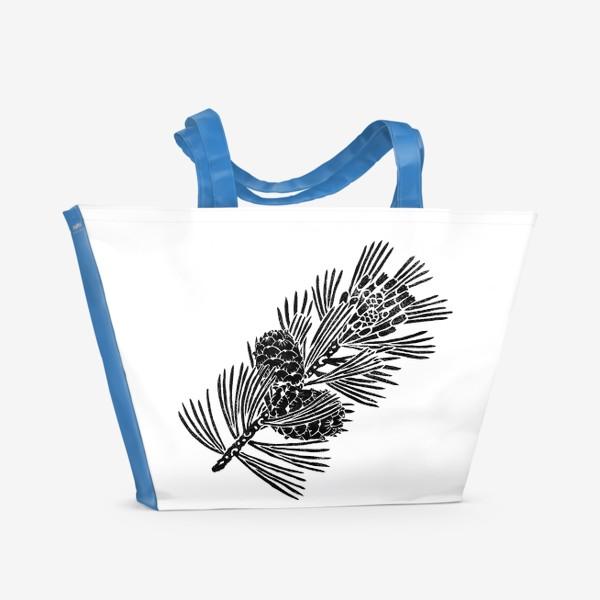 Пляжная сумка «Кедр-3 (сибирская сосна) в технике линогравюра»