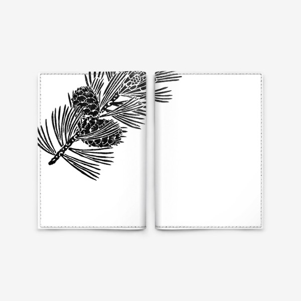 Обложка для паспорта «Кедр-3 (сибирская сосна) в технике линогравюра»