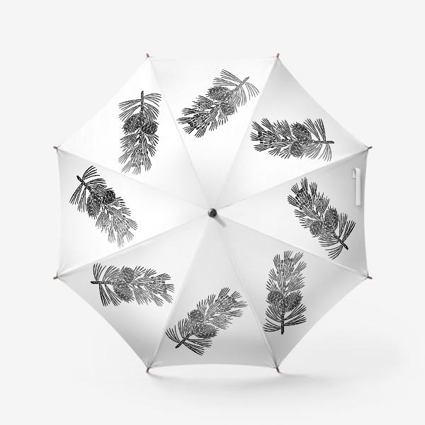 Зонт «Кедр-3 (сибирская сосна) в технике линогравюра»