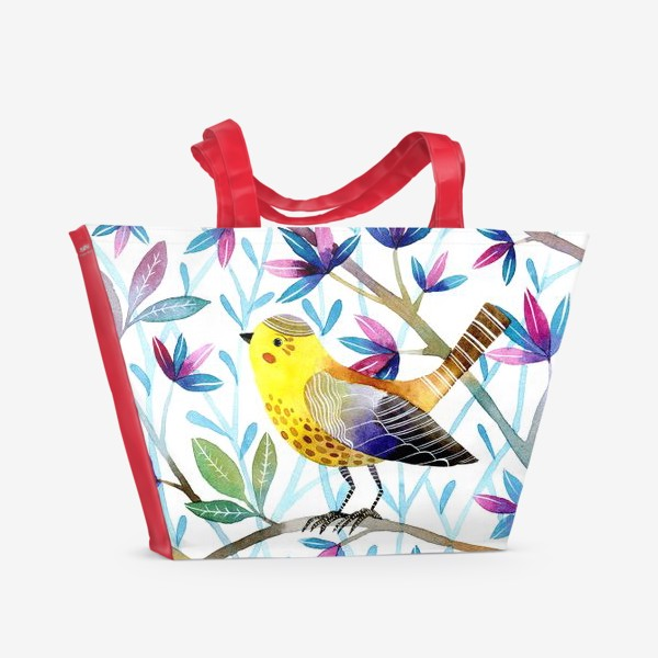 Пляжная сумка «Птичка на веточках »
