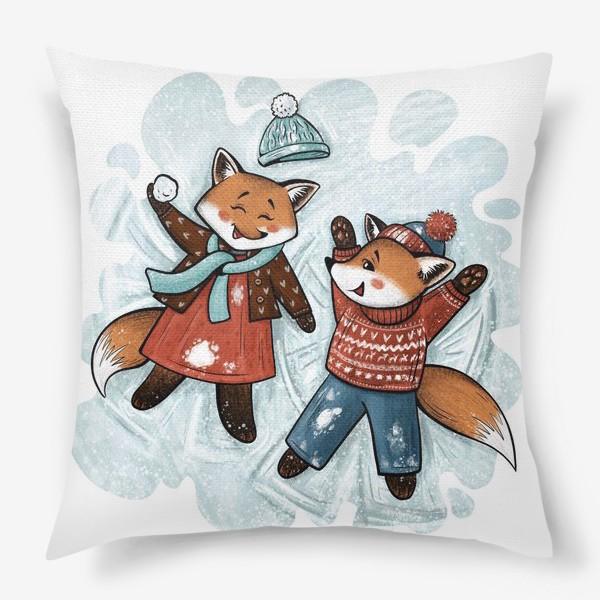 Подушка «Лисята играют в снежки»