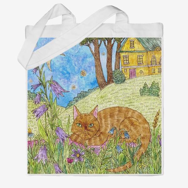 Сумка хб «Кошка в саду»