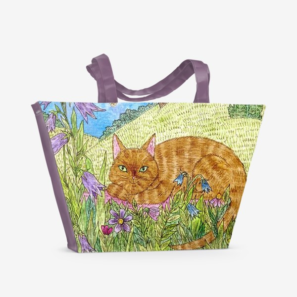 Пляжная сумка «Кошка в саду»