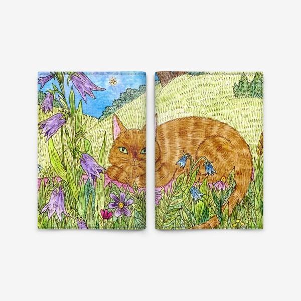 Обложка для паспорта «Кошка в саду»