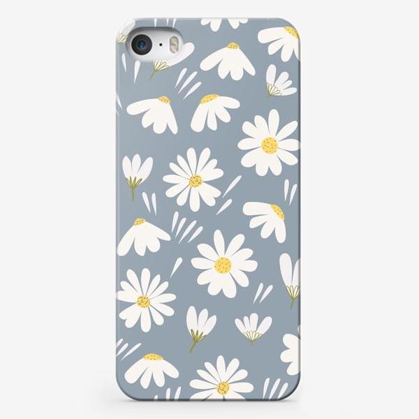 Чехол iPhone «ромашки на сером»