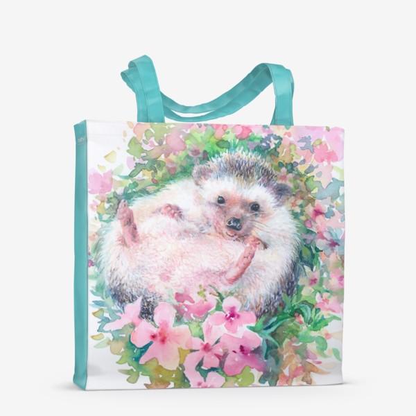 Сумка-шоппер «Ежичек в цветах»