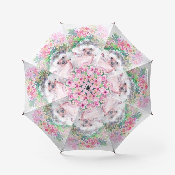 Зонт «Ежичек в цветах»