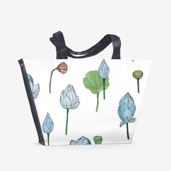 Пляжная сумка «голубые лотосы»