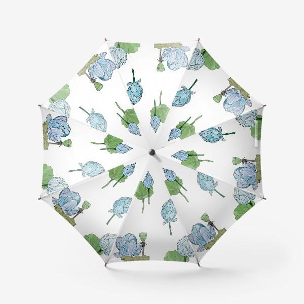 Зонт «голубые лотосы»
