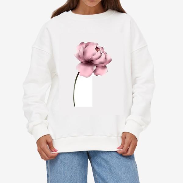 Свитшот «Цветок пиона на белом фоне»