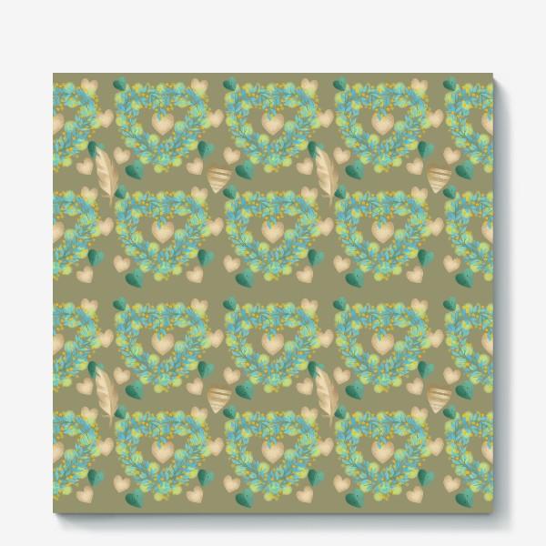 Холст «зеленый паттерн сзолотым пером»
