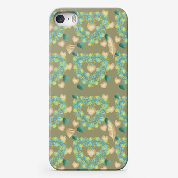 Чехол iPhone «зеленый паттерн сзолотым пером»