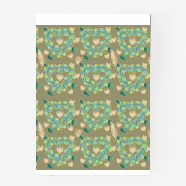 Постер «зеленый паттерн сзолотым пером»