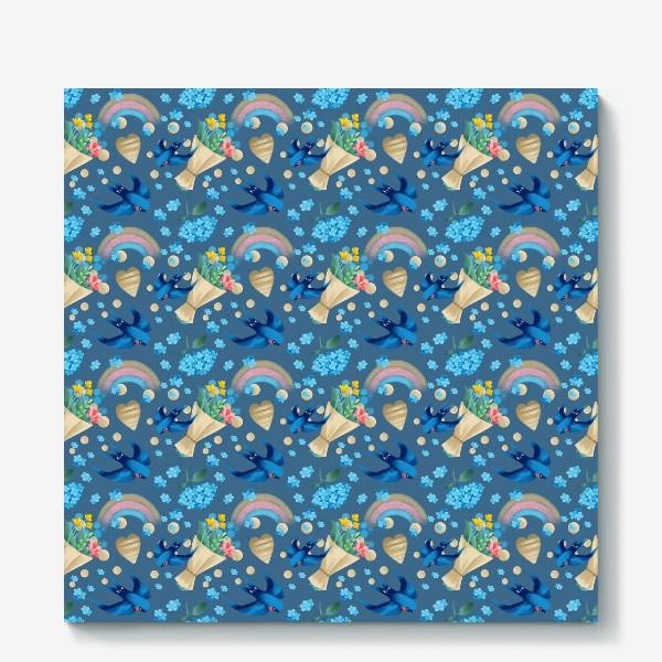 Холст «синий паттерн с ласточками»