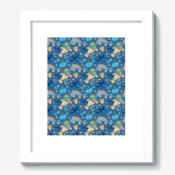 Картина «синий паттерн с ласточками»