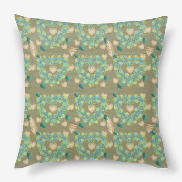 Подушка «зеленый паттерн сзолотым пером»