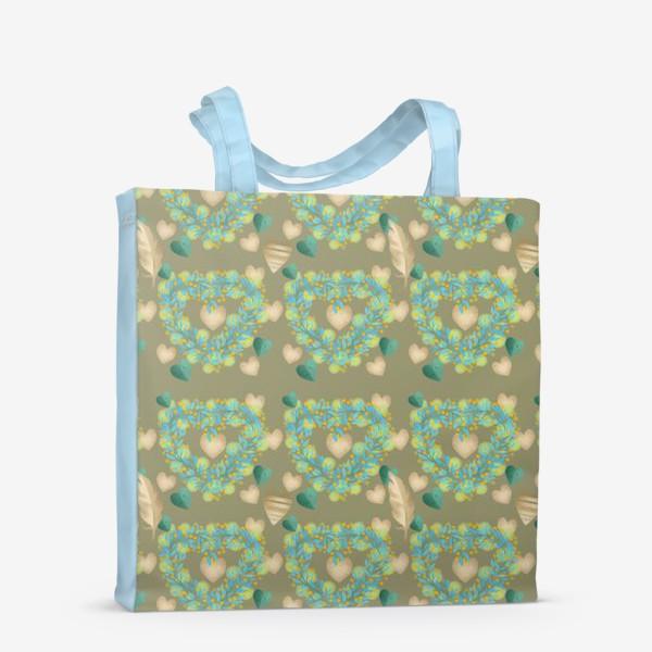 Сумка-шоппер «зеленый паттерн сзолотым пером»