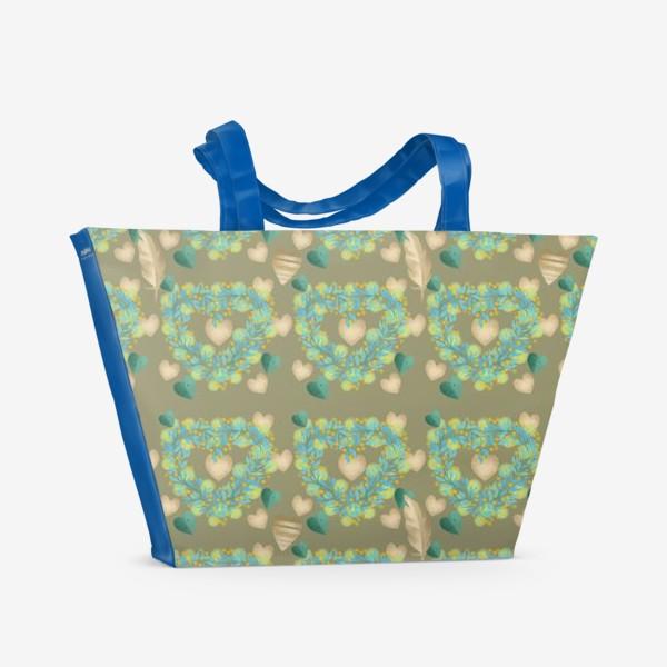 Пляжная сумка «зеленый паттерн сзолотым пером»
