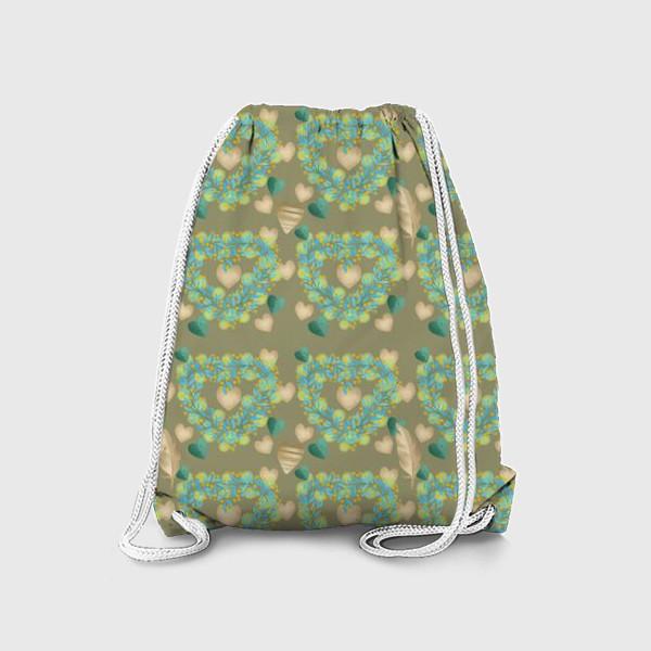 Рюкзак «зеленый паттерн сзолотым пером»