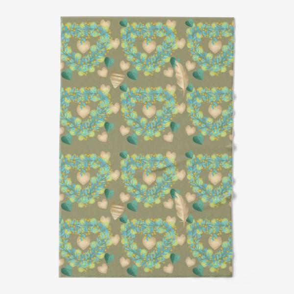 Полотенце «зеленый паттерн сзолотым пером»