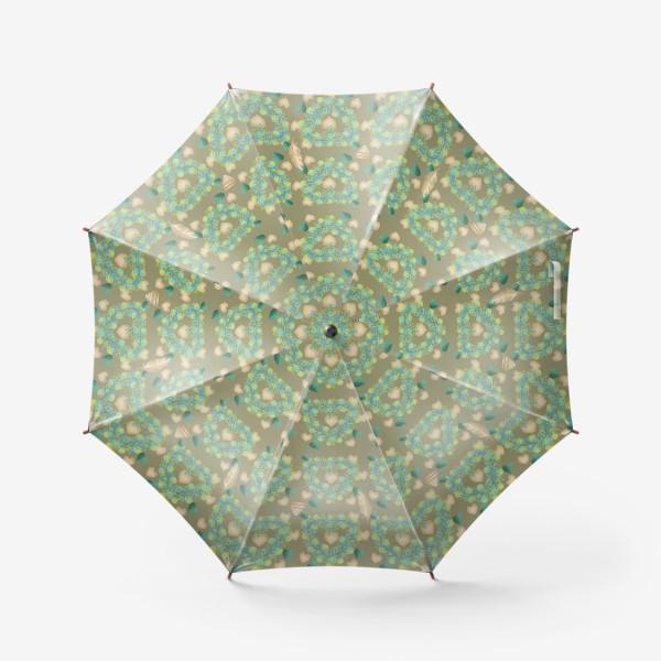 Зонт «зеленый паттерн сзолотым пером»