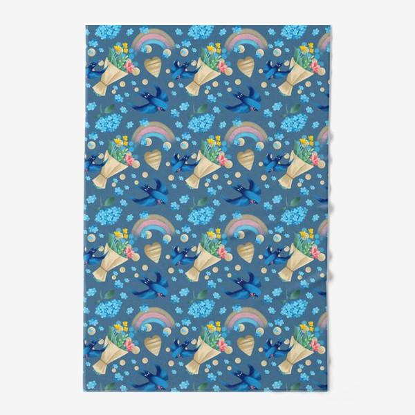 Полотенце «синий паттерн с ласточками»