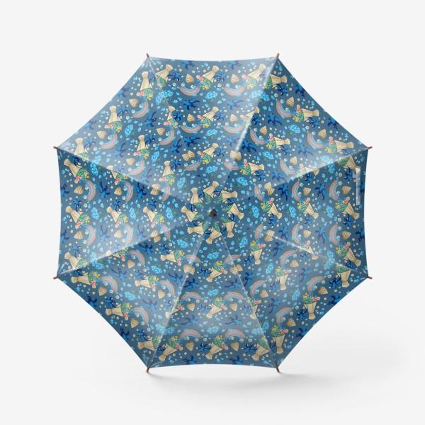 Зонт «синий паттерн с ласточками»