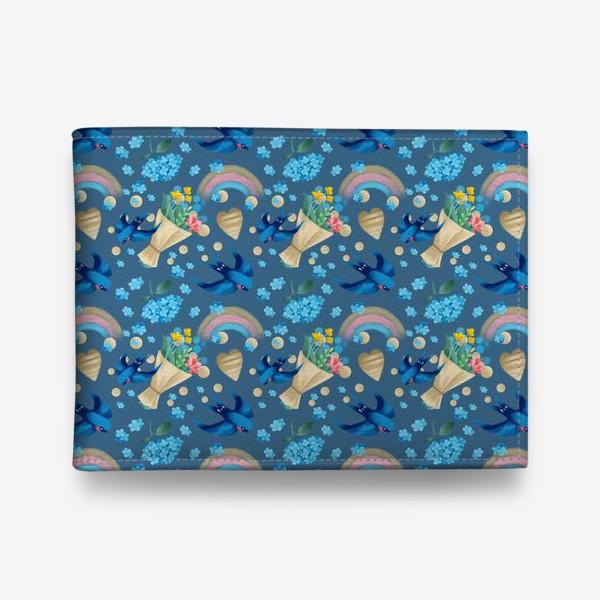 Кошелек «синий паттерн с ласточками»