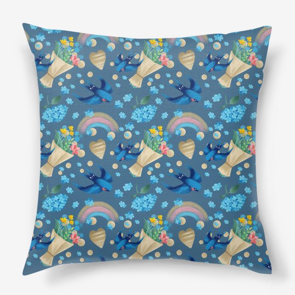 Подушка «синий паттерн с ласточками»