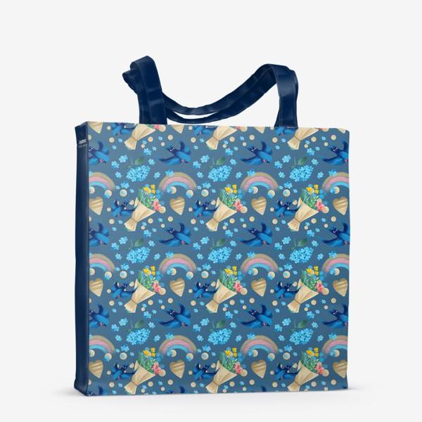 Сумка-шоппер «синий паттерн с ласточками»
