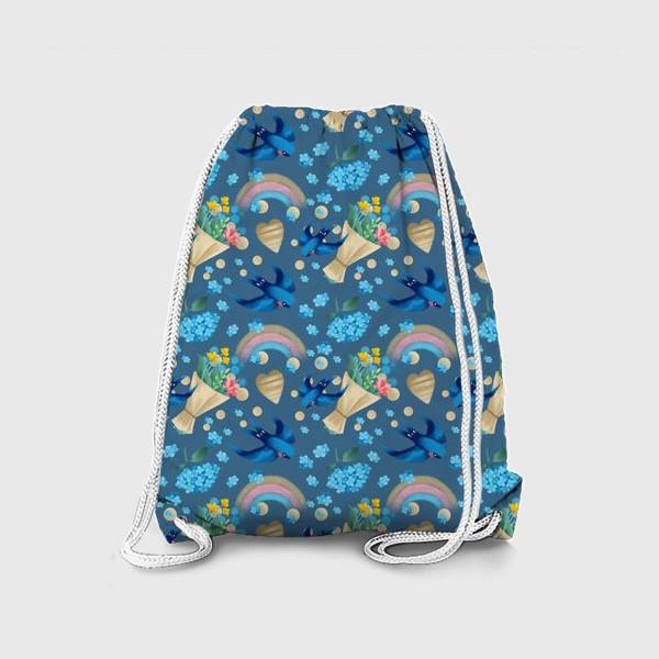 Рюкзак «синий паттерн с ласточками»