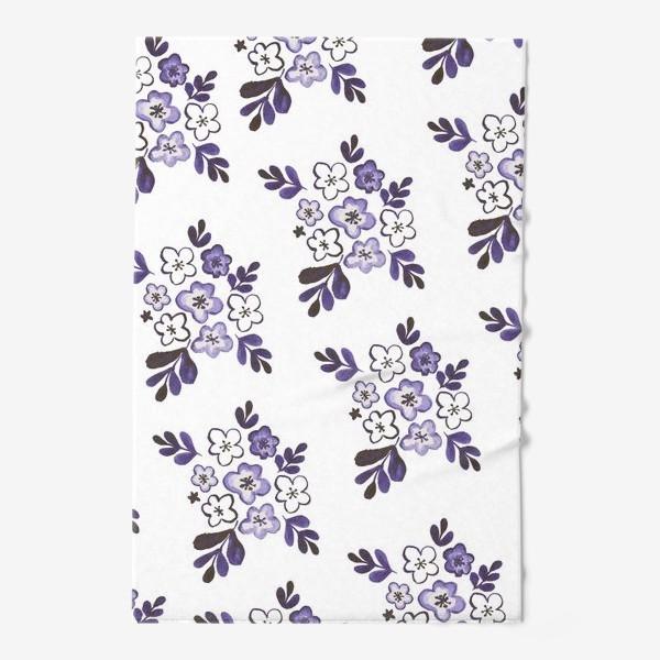 Полотенце «Фиолетовый акварельный цветочный паттерн»