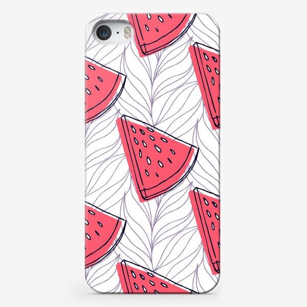 Чехол iPhone «Арбузы на фоне пальмовых листьев»