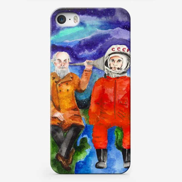 Чехол iPhone «Гагарин и Циолковский: встреча в космосе»