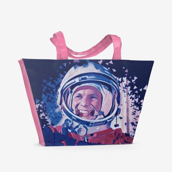 Пляжная сумка «Гагарин. Blue. День космонавтики. Космос. Небо. Полет.»