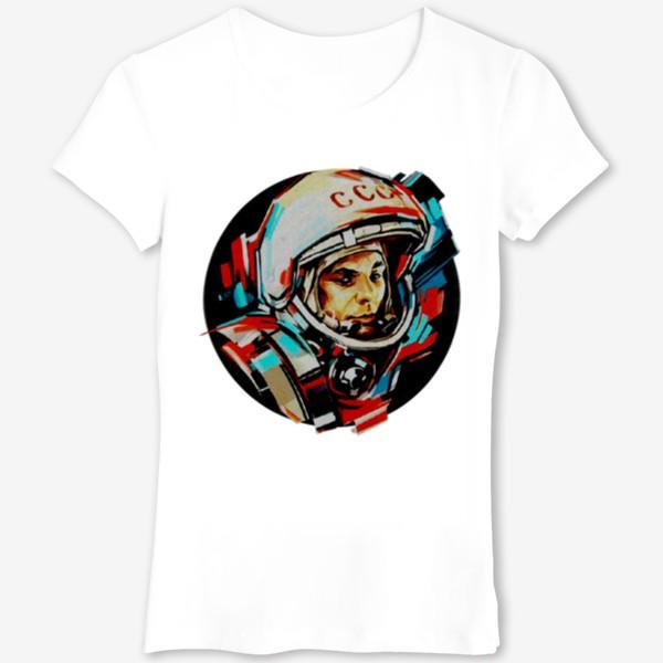 Футболка «Гагарин. Без фона. День космонавтики. Космос. Небо. Полет.»