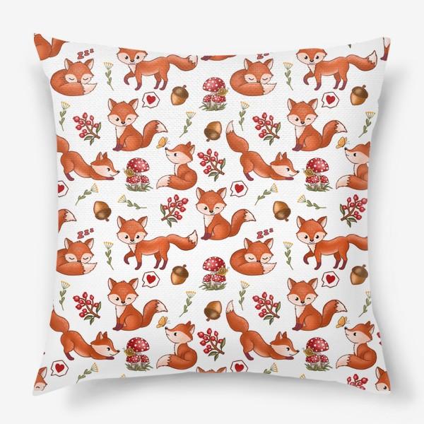 Подушка «Радостная лисичка (лес, мухоморы, ягоды)»