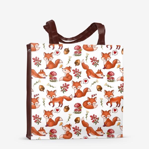 Сумка-шоппер «Радостная лисичка (лес, мухоморы, ягоды)»