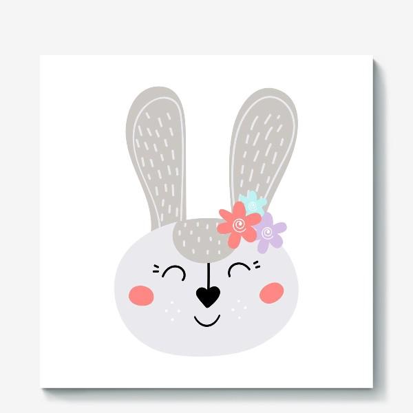 Холст «Милый зайчик. Кролик с цветочками»