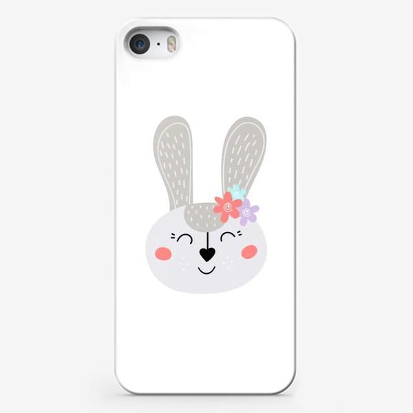 Чехол iPhone «Милый зайчик. Кролик с цветочками»