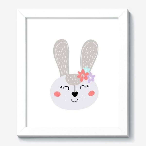 Картина «Милый зайчик. Кролик с цветочками»